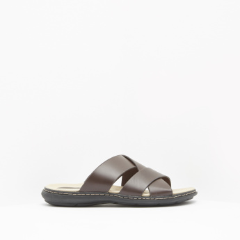 Cross Strap Comfort Slip-On Slides