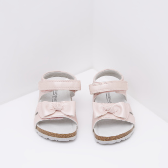 Sandals with Hook and Loop Closure and Bow Detail