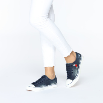 Missy Denim Embroidered Lace-Up Sneakers