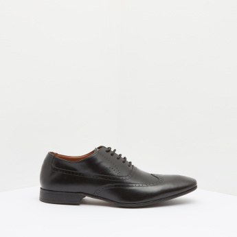 Perforated Oxford Shoes with Lace-Up Closure and Stacked Heels