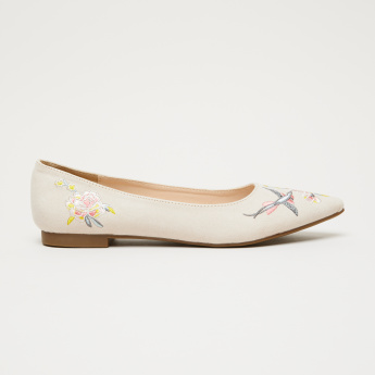 Missy Embroidered Slip-On Ballerina Shoes