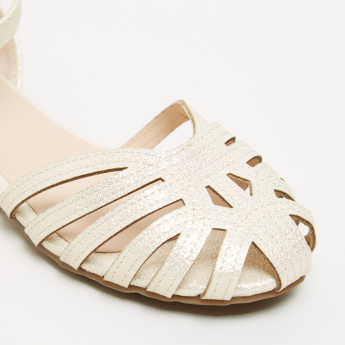 Textured Flat Sandals with Hook and Loop Ankle Strap