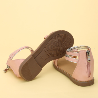 Little Missy Stitch Detail Sandals with Ankle Strap and Zip Closure