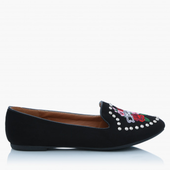 Missy Embroidered Slip-On Shoes with Low Heel